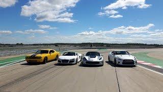 DRAG RACE – Nissan GTR vs Corvette Z06 vs Audi R8 vs Dodge Challenger SRT8