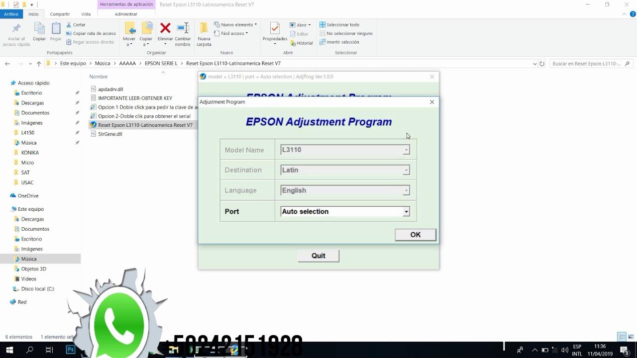Reset Epson L3110 ALMUADILLAS AL FINAL DE SU VIDA Descarga