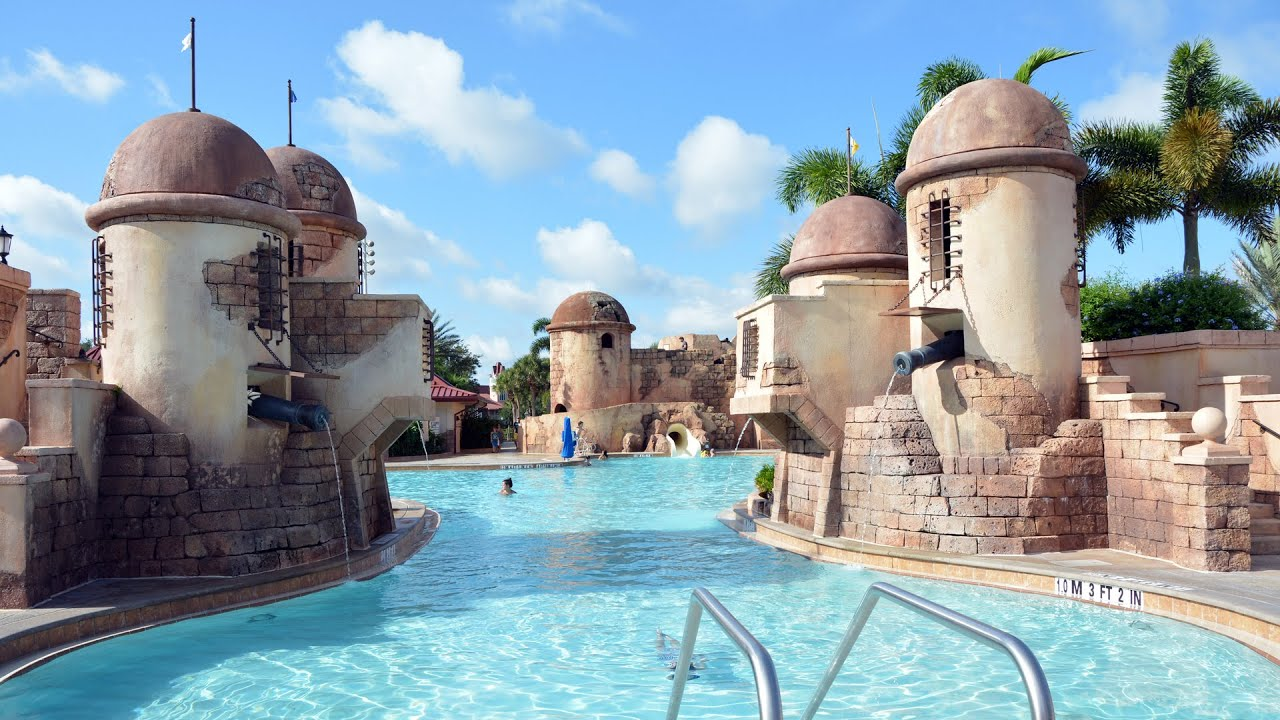 Disney S Caribbean Beach Resort Feature Pool Tour Fuentes Del Morro Walt World