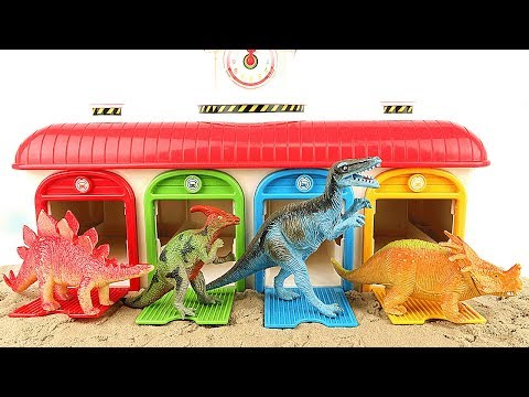 Learn Names of Dinosaurs With Tayo Garage. Jurassic Dinosaur Toys For Kids. 4D Puzzle Eggs Rex