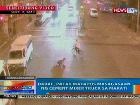 NTG: Babae, patay matapos masagasaaan ng cement mixer truck sa Makati City