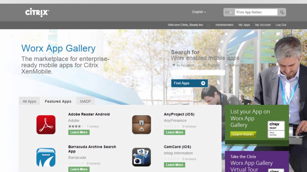 App profile creation on the Citrix Worx App Gallery