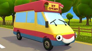 Ice Cream Truck, School Bus & Excavator Videos For Kids | Gecko's Garage | Educational Videos