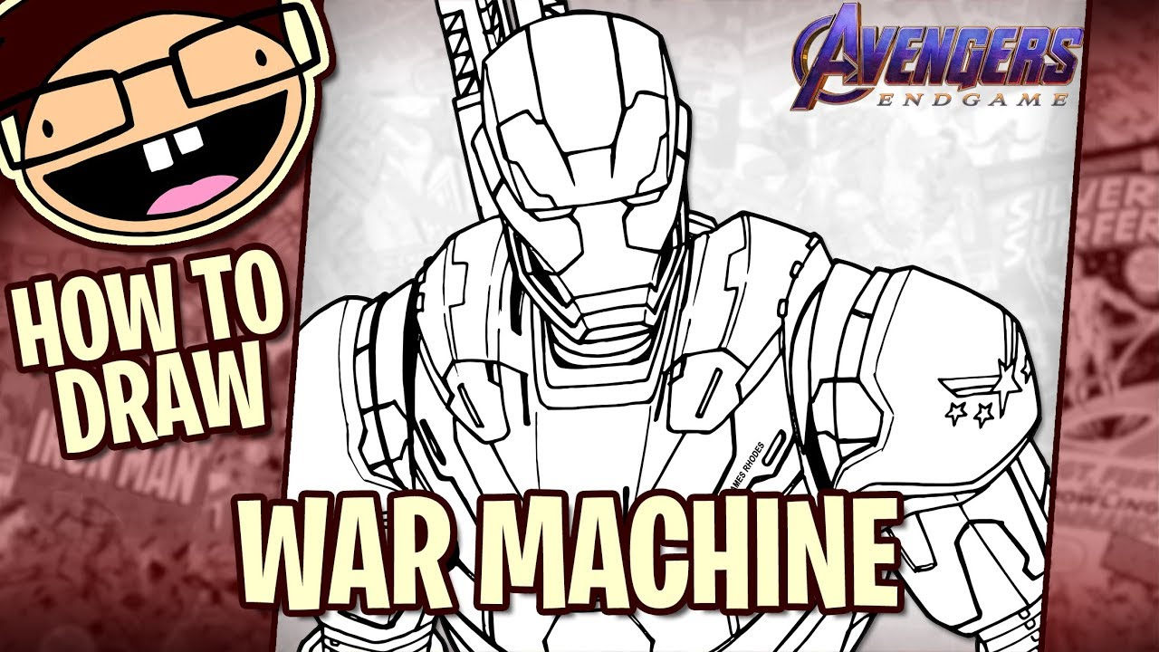 How To Draw War Machine Avengers Endgame Drawing Tutorial Draw