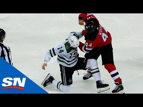 Jamie Benn & Miles Wood Engage In Old-School, Classic Hockey Fight