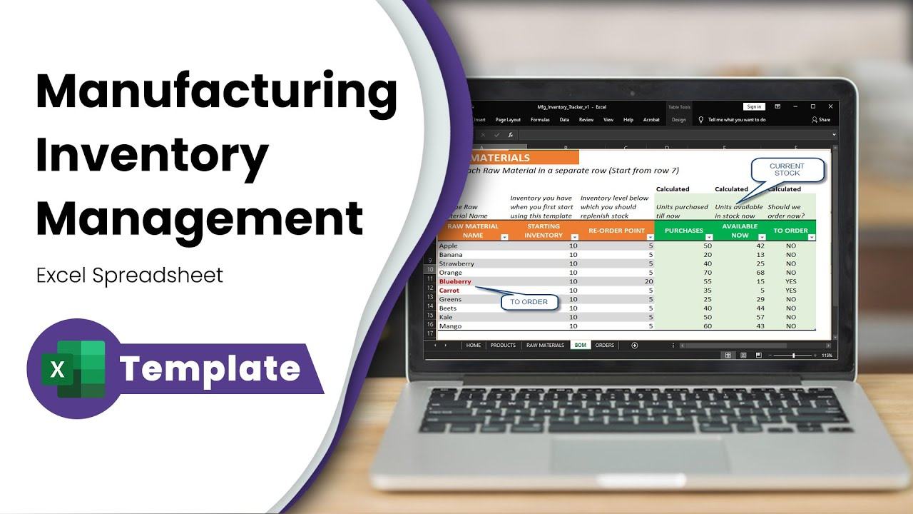 Free Inventory Management In Excel For Manufacturing Businesses Inventory Spreadsheet