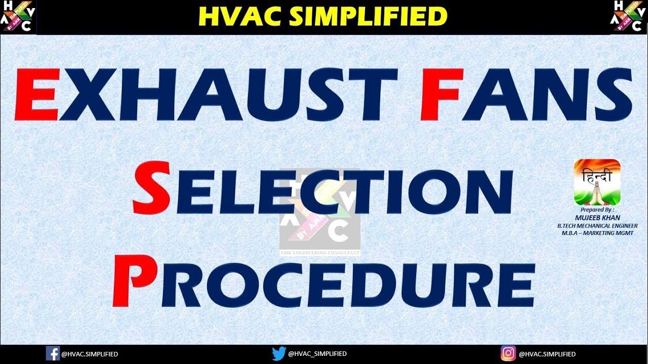 HVAC Online Training - Exhaust Fans Selection Procedure  (Hindi Version)