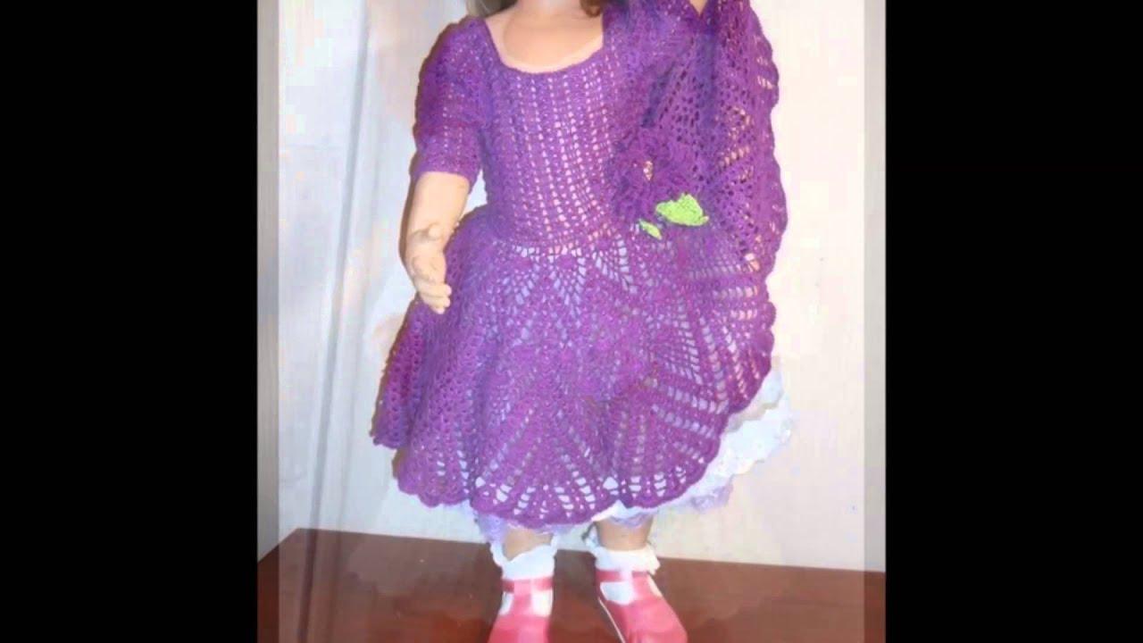 Vestido de gala crochet niña - YouTube