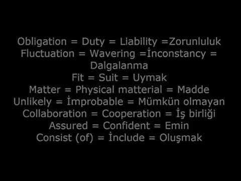 Yds'de en çok çıkan kelimeler ve eş anlamları