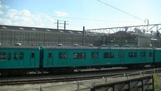 さようなら105系 吹田総合車両所留置 JR西日本 岸辺 → 吹田 間 左車窓