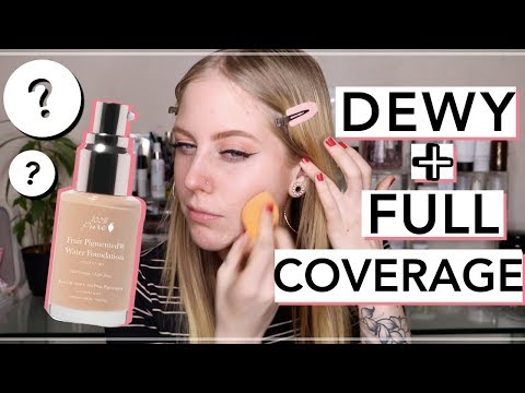 100 PERCENT PURE FULL COVERAGE WATER FOUNDATION DEMO + REVIEW