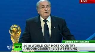 Russia Wins! Video of FIFA World Cup 2018 host announcement