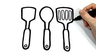 cocina utensilios dibujar como