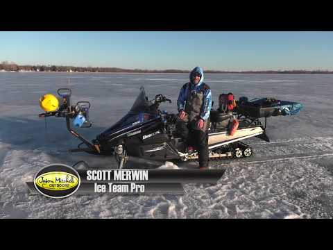 Snowmobile Tricked Out And Loaded For Ice Fishing