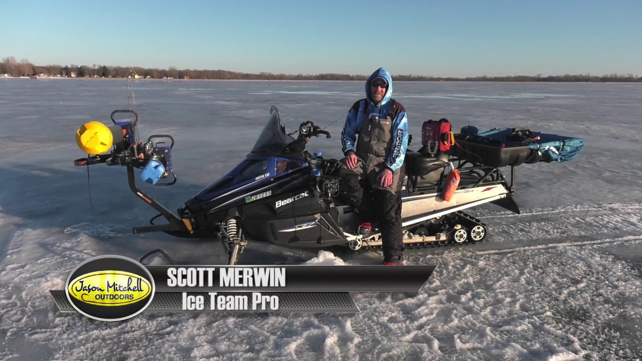 Snowmobile tricked out and loaded for ice fishing youtube for Ice fishing snowmobile