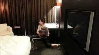 The Hotel Room Workout Reverse Lunge and Twist Exercise Demo - Micaela Fitness