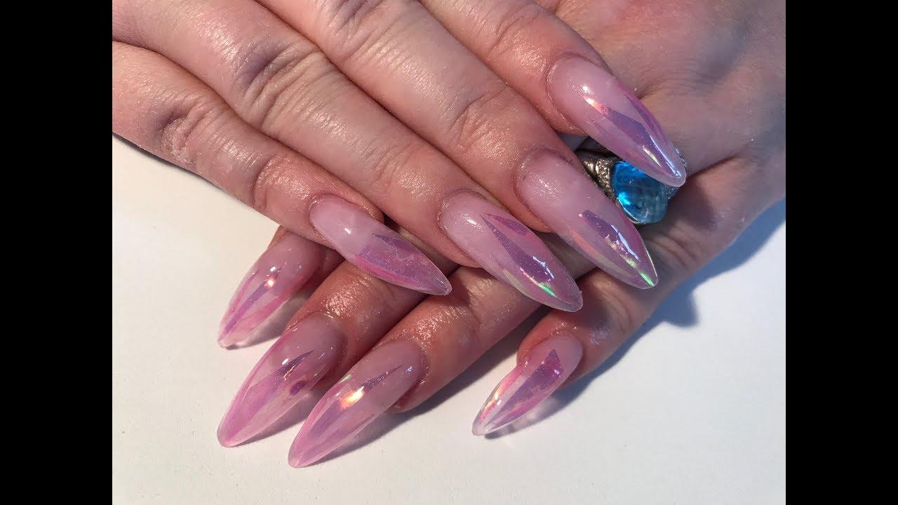 Acrylic Nails - long stiletto nails using angel paper and new nail ...