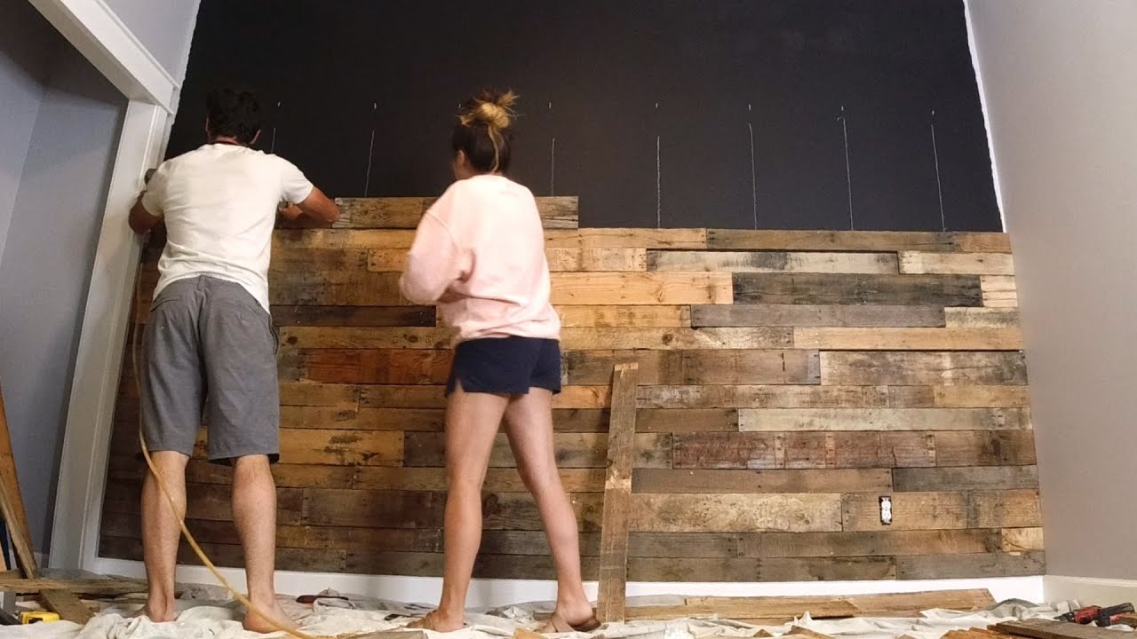 Diy Bedroom Wall Makeover On A Budget Pallet Wall Ideas Black Wall To Wood Wall Youtube