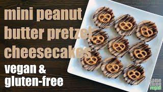 mini peanut butter pretzel cheesecakes (vegan & gluten-free) Something Vegan
