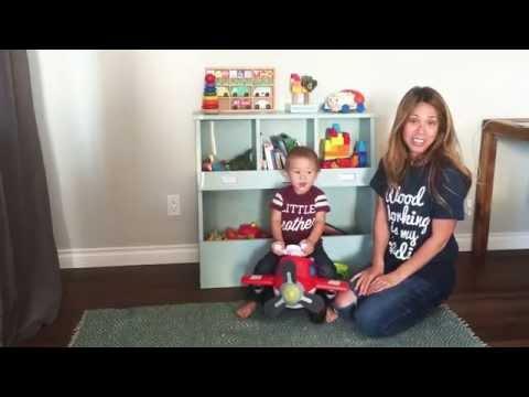 DIY Vertical Bin Toy Box Shelf