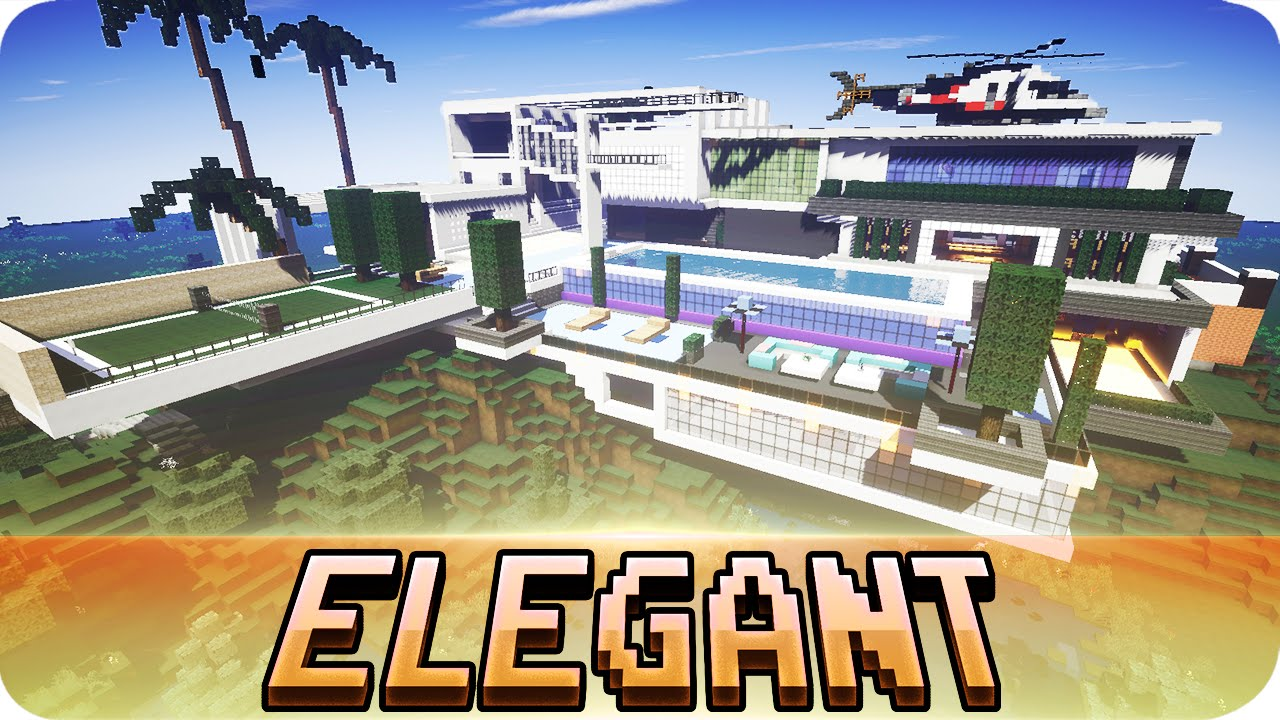 Minecraft   Elegant Modern House   Map W/ Download   YouTube