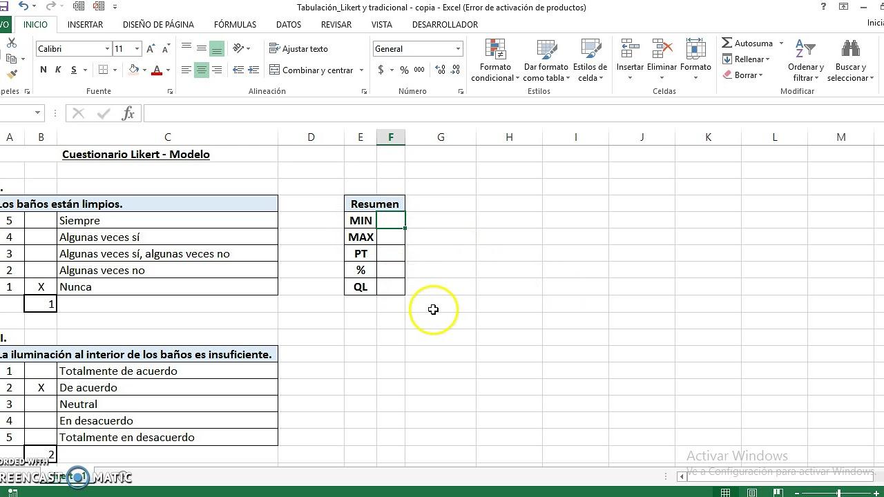 Cómo Tabular Formularios Tipo Likert En Excel