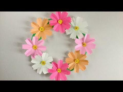 折り紙コスモスのリース Cosmos Wreath Youtube