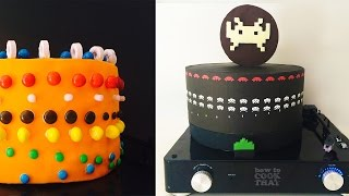 ANIMATED SPACE INVADERS CAKE How To Cook That Ann Reardon optical illusion animated