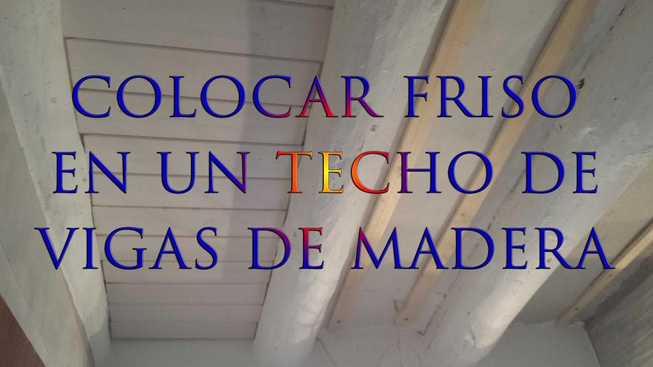 Como poner friso en un techo de vigas de madera bricolaje - Como colocar pladur en techo ...