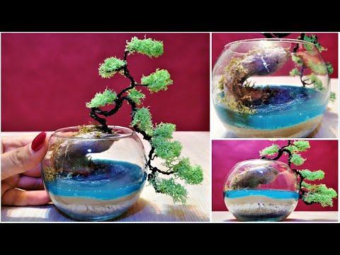 Miniature Bonsai tree and Ocean diorama / DIY