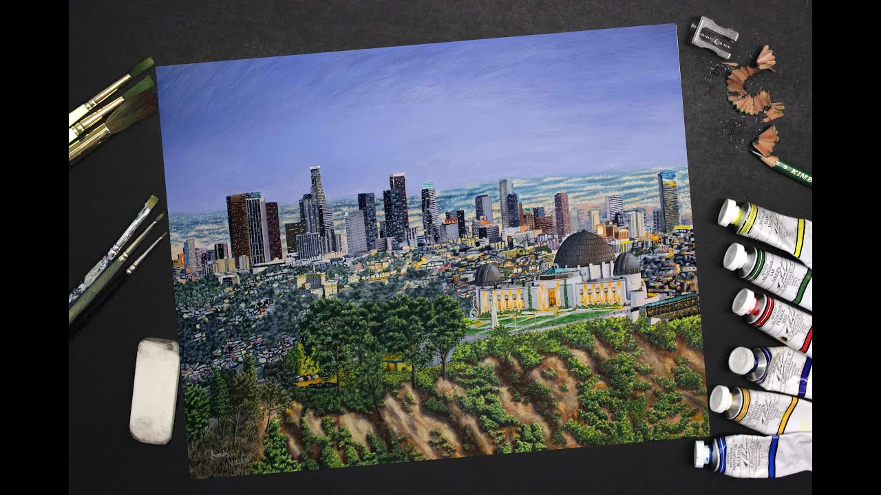 Speed painting of the los angeles skyline realistic time for Painting in los angeles