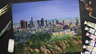 Speed Painting of the Los Angeles Skyline - realistic time lapse painting.