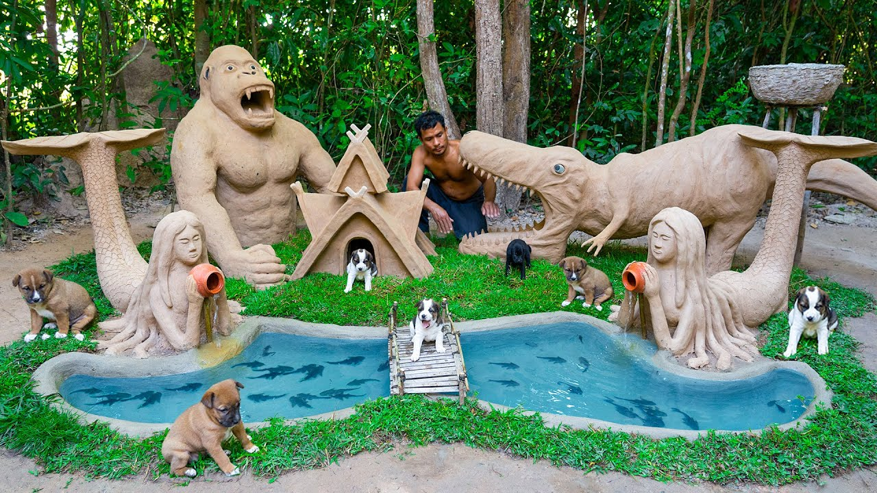 Rescue Newborn Dogs Building Most Beautiful House And Fish Pond Around Dog House