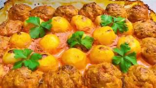ГОРЯЧЕЕ БЛЮДО БЕЗ ХЛОПОТ. Котлеты с гарниром из картофеля в сметанно-томатном соусе улетят НА УРА!