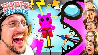 HAPPY WHEELS 6 Pląyer Race! Lose = Delete Youtube Channel (FGTeeV x Among Us, Piggy, Mortal Kombat)