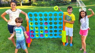 Giant 4 in a Row Connect Game Challenge with Heidi Zidane Hadil & Zack