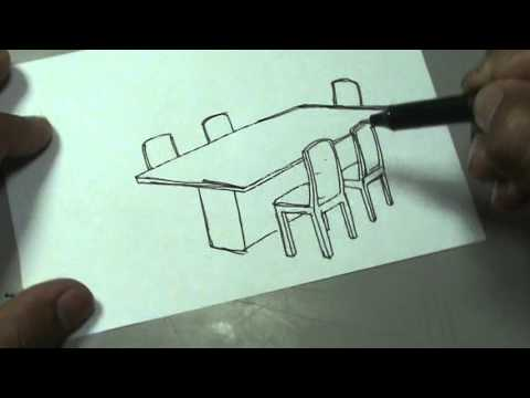 Dibuja Facil Un Comedor De 6 Puestos Dinning Room Drawing Youtube
