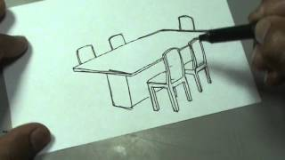 Dibuja fácil un comedor de 6 puestos - Dinning room drawing
