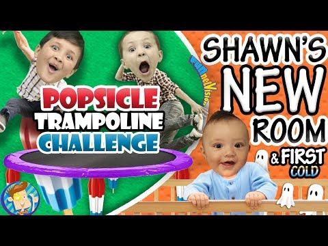 POPSICLE Trampoline Challenge   Shawns New Bedroom + Babys First Cold ๑◕︵◕๑ FUNnel VLOG