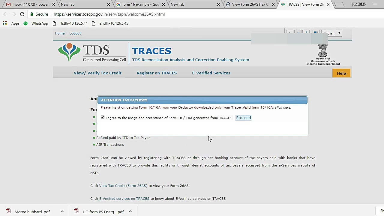 How to view form 26AS from TRACES | Form 26 AS instead of Form 16 & 16 A  for filing Return