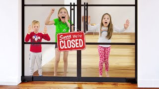 Funny kids party story! Amelia, Avelina and Akim are stuck at the office.