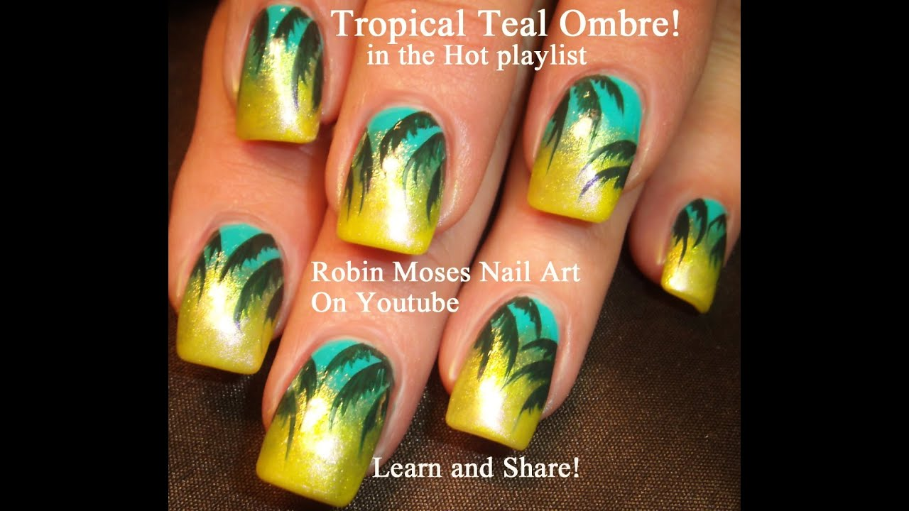 easy tropical palm tree nail design
