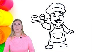 How To Draw and Color The Muffin Man