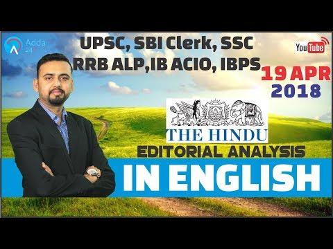 The Hindu Editorial Analysis (In English) | 19th April 2018 | UPSC, SBI Clerk, SSC, RRB ALP,IB, IBPS