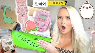 I SPENT $500 ON THE KOREAN FOREVER 21! 🍑cute accessories, tech, fashion haul