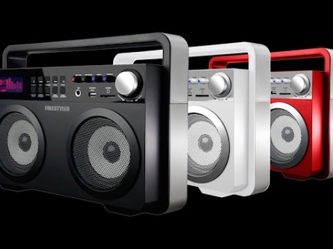 Teac Freestyler demo MP3 boombox ...used as electric guitar amp through mic input
