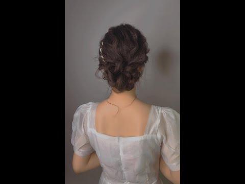 Hướng dẫn kiểu tóc búi trễ Hàn Quốc đơn giản cho cô dâu ngày cưới!  Wedding Hairstyle