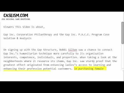 Gap Inc. Corporation Philanthropy and the Gap Inc. P.A.C.E. Program  Case Solution & Analysis