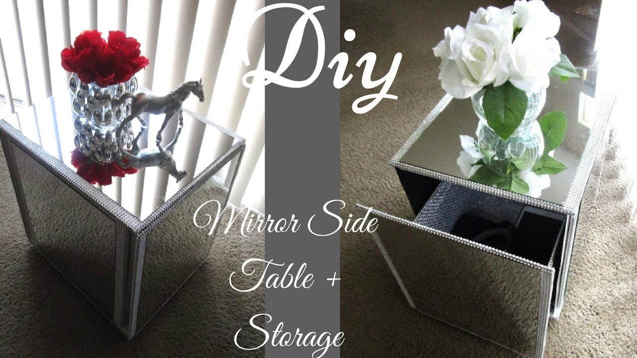 Diy Glam Mirror Side Table With Hidden Storage Youtube