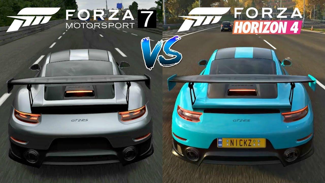 Forza Horizon 4 vs Forza Motorsport 7   Cars Engine Sounds Direct Comparison  